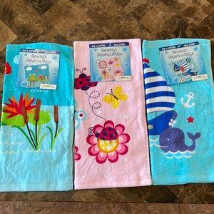 Bundle of 3 Kids 100% cotton face clothes.